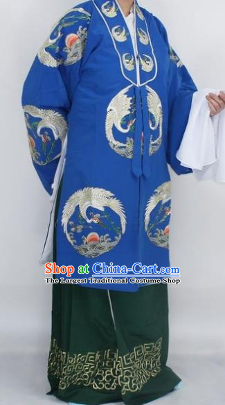 Chinese Traditional Peking Opera Pantaloon Costumes Ancient Countess Embroidered Blue Robe for Women