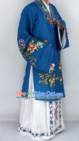 Chinese Traditional Peking Opera Nobility Lady Navy Costumes Ancient Princess Embroidered Cloak for Women