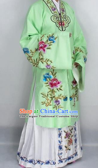 Chinese Traditional Peking Opera Nobility Lady Green Costumes Ancient Princess Embroidered Cloak for Women