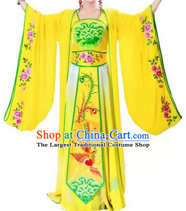 Traditional Chinese Classical Dance Costumes Ancient Tang Dynasty Imperial Consort Embroidered Yellow Hanfu Dress for Women