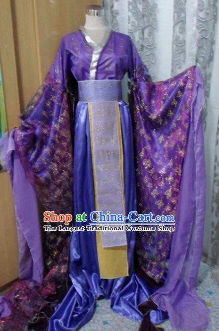 Traditional Chinese Han Dynasty Classical Dance Costumes Ancient Imperial Consort Purple Hanfu Dress for Women
