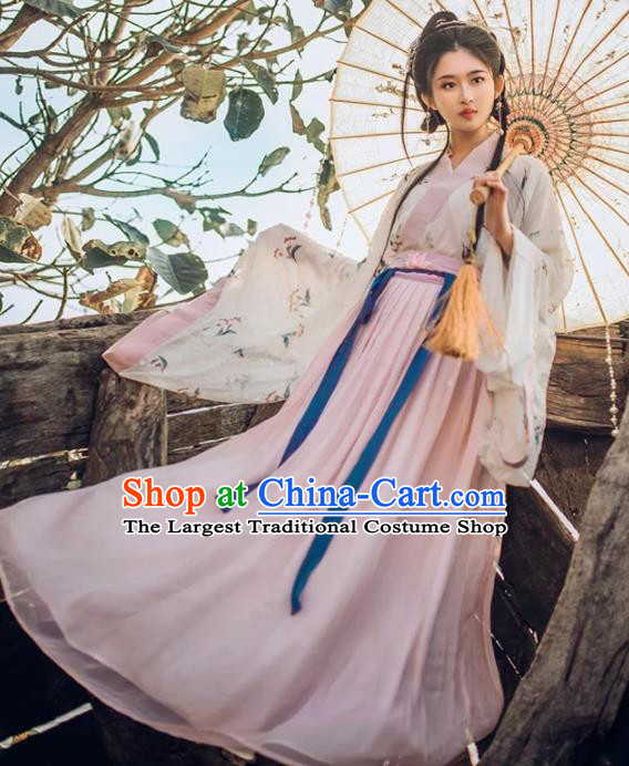 Traditional Chinese Ancient Peri Goddess Hanfu Dress Jin Dynasty Princess Embroidered Costumes for Women