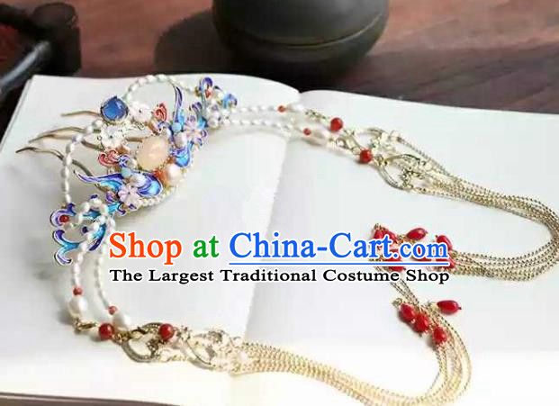 Chinese Traditional Hair Accessories Ancient Handmade Hanfu Cloisonne Hairpins Tassel Hair Combs for Women