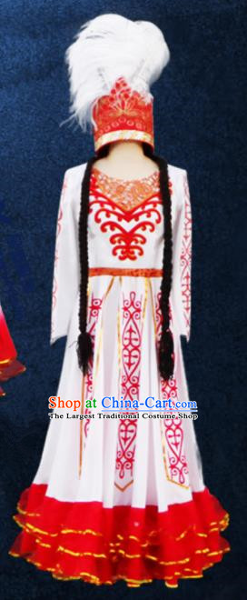 Chinese Traditional Ethnic Costumes Stage Performance Kazak Minority Nationality Dance White Dress for Women