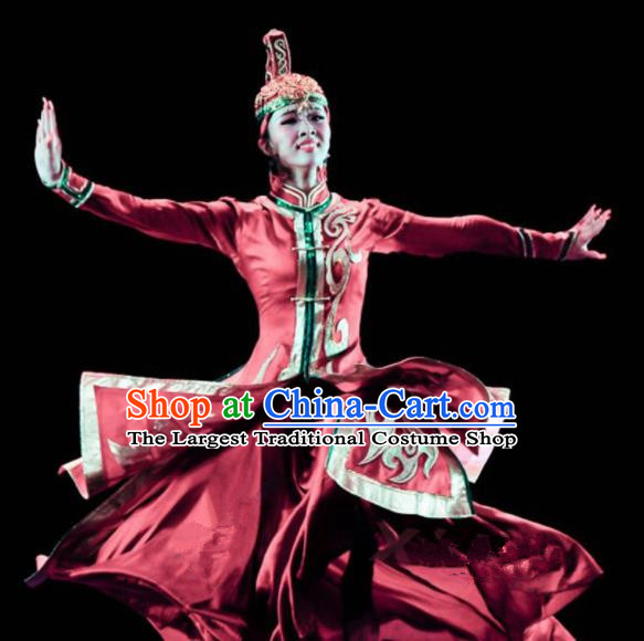 Chinese Traditional Mongol Ethnic Costumes Mongolian Minority Nationality Dance Red Dress for Women