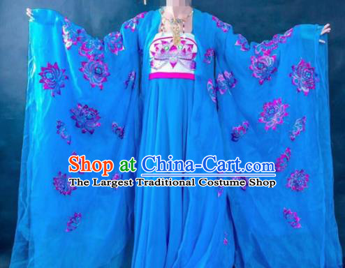 Chinese Traditional Tang Dynasty Embroidered Lotus Costume Ancient Imperial Consort Blue Hanfu Dress for Women