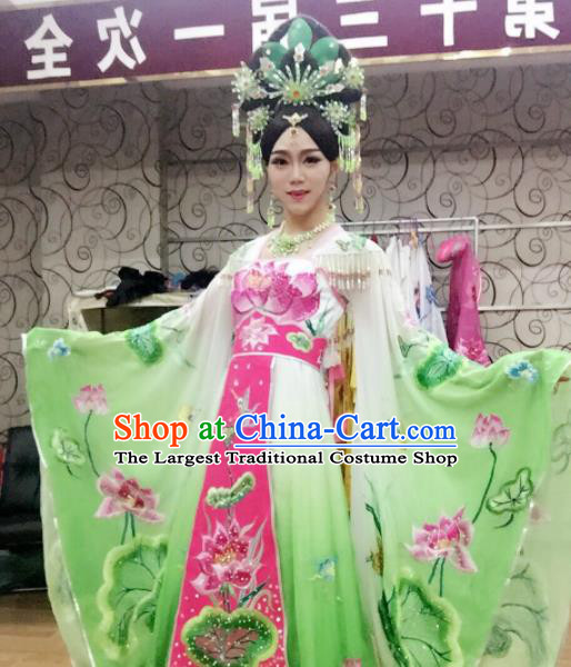 Traditional Chinese Tang Dynasty Costume Ancient Imperial Consort Embroidered Lotus Green Hanfu Dress for Women