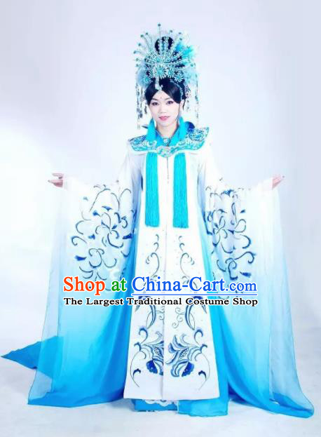 Traditional Chinese Tang Dynasty Historical Costumes Ancient Imperial Consort Embroidered Blue Hanfu Dress for Women