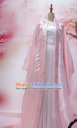 Traditional Chinese Tang Dynasty Historical Costumes Ancient Empress Embroidered Pink Hanfu Dress for Women
