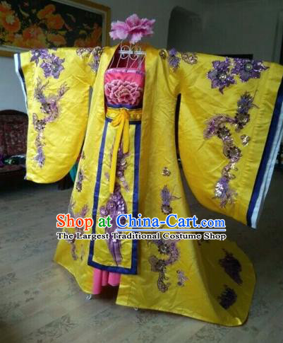 Traditional Chinese Tang Dynasty Imperial Consort Historical Costumes Ancient Embroidered Yellow Hanfu Dress for Women