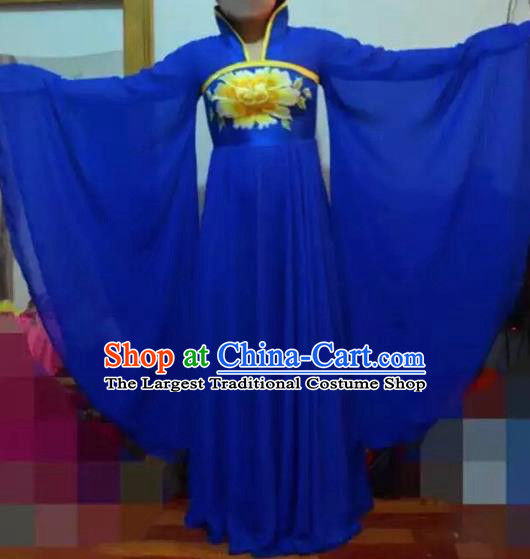 Traditional Chinese Ancient Embroidered Blue Hanfu Dress Tang Dynasty Imperial Consort Historical Costumes for Women
