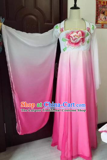 Traditional Chinese Ancient Embroidered Pink Hanfu Dress Tang Dynasty Imperial Consort Historical Costumes for Women
