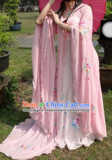 Traditional Chinese Ancient Fairy Embroidered Pink Hanfu Dress Tang Dynasty Imperial Consort Historical Costumes for Women