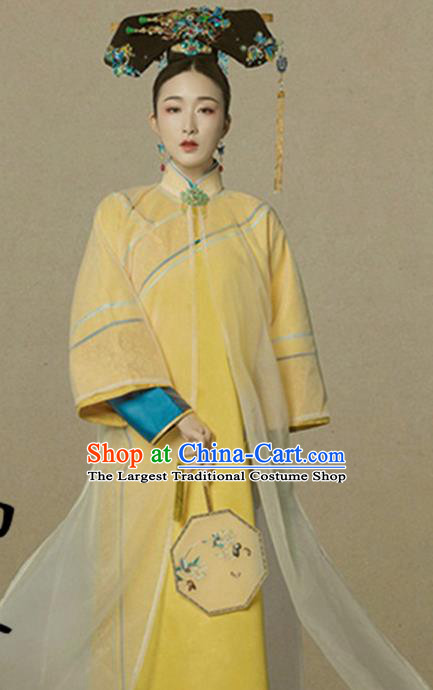 Traditional Chinese Qing Dynasty Palace Lady Costumes Ancient Manchu Imperial Consort Dress and Headpiece for Women