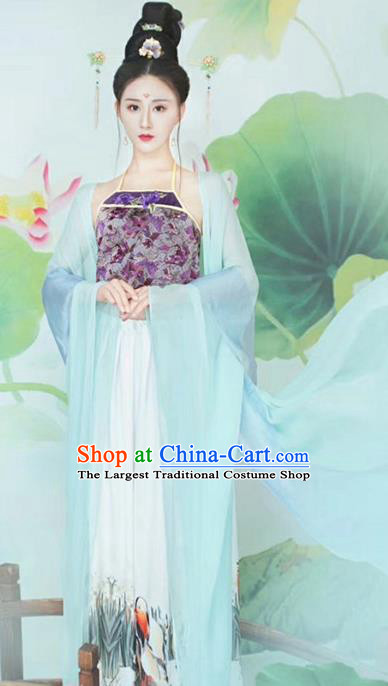 Traditional Chinese Ancient Tang Dynasty Imperial Consort Sexy Costumes and Headpiece for Women