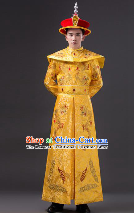 Chinese Ancient Qing Dynasty Emperor Costumes Imperial Robe for Men