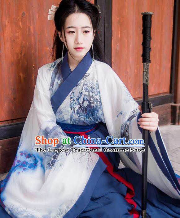 Chinese Traditional Hanfu Dress Ancient Jin Dynasty Swordswoman Costumes Complete Set