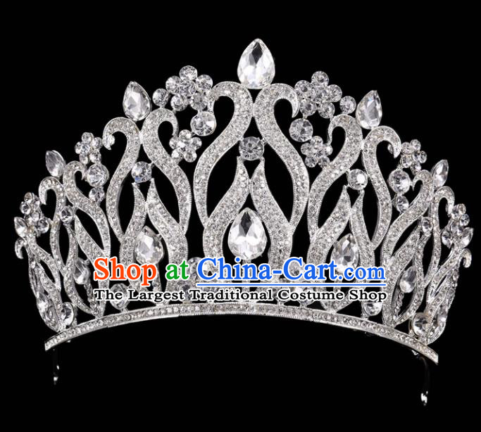 Handmade Wedding Crystal Royal Crown Baroque Retro Hair Accessories for Women