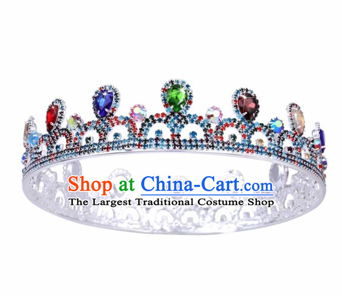 Handmade Wedding Bride Hair Accessories Baroque Princess Retro Colorful Crystal Round Royal Crown for Women