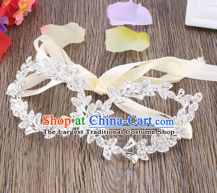 Handmade Halloween Accessories Venice Fancy Ball White Leaf Crystal Masks for Women