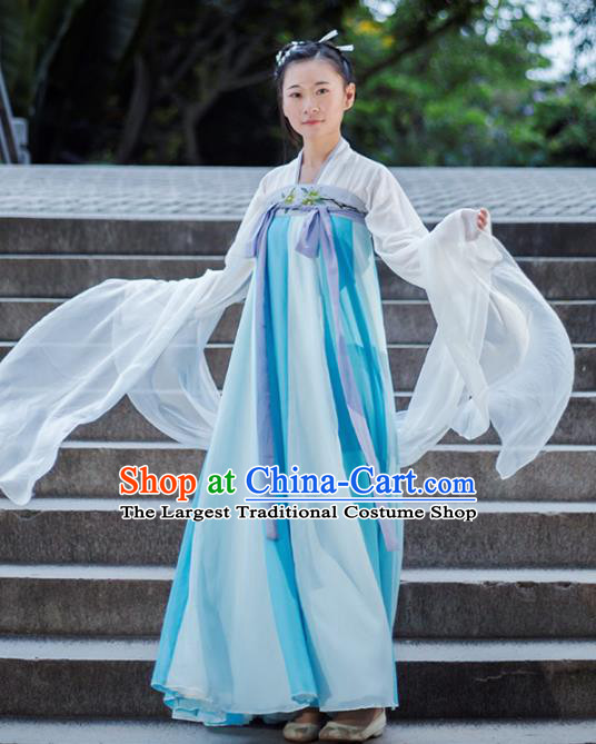 Traditional Chinese Ancient Tang Dynasty Court Maid Costume Embroidered Hanfu Dress for Rich Women