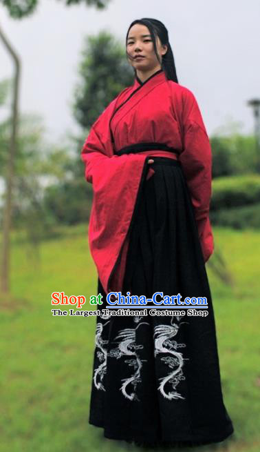 Traditional Chinese Ancient Han Dynasty Swordswoman Costumes for Women