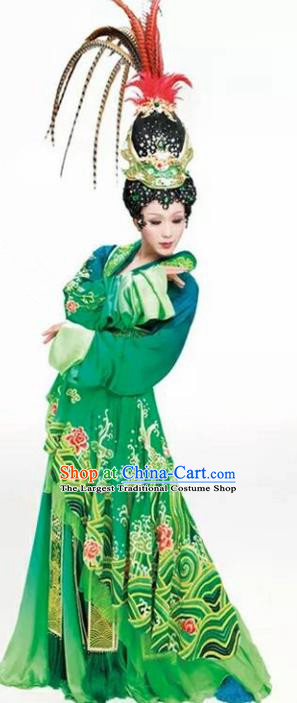 Chinese Han Dynasty Imperial Consort Diau Charn Embroidered Costumes Ancient Palace Green Hanfu Dress for Women