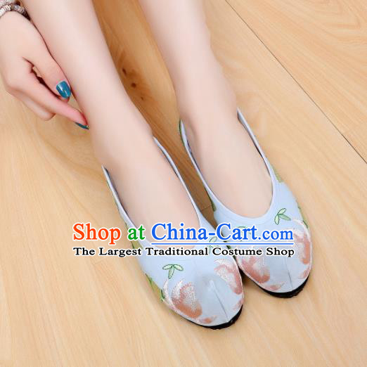 Chinese Ancient Shoes Hanfu Shoes Blue Embroidered Shoes Princess Shoes for Women
