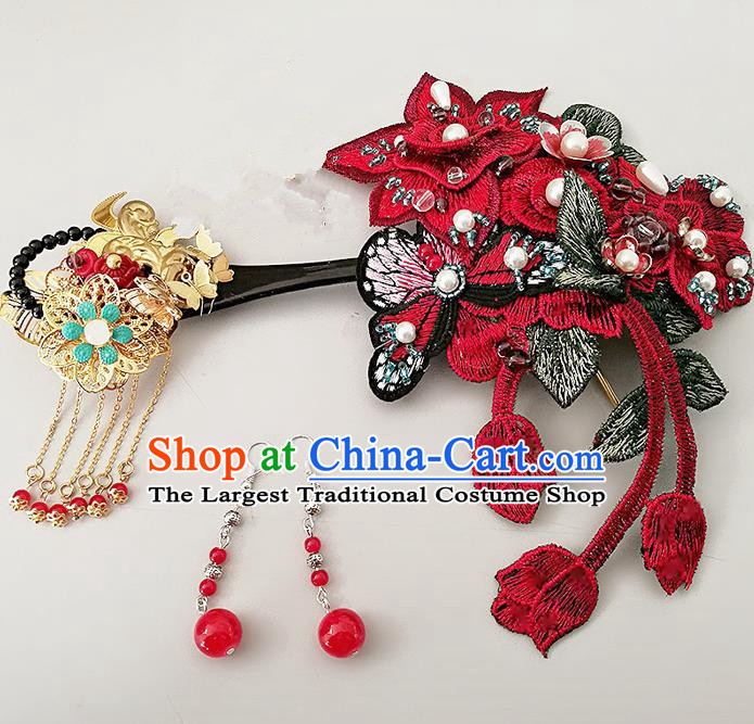 Chinese Ancient Han Dynasty Princess Hair Accessories Palace Red Embroidered Hairpins for Women