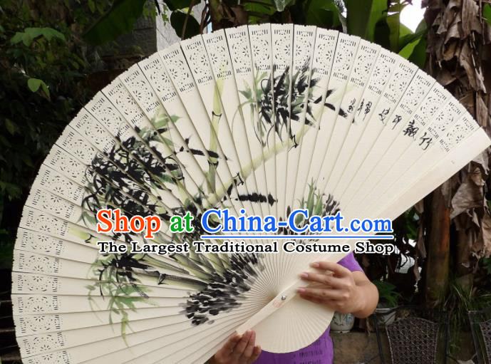Chinese Traditional Handmade Wood Fans Decoration Crafts Printing Bamboo Folding Fans
