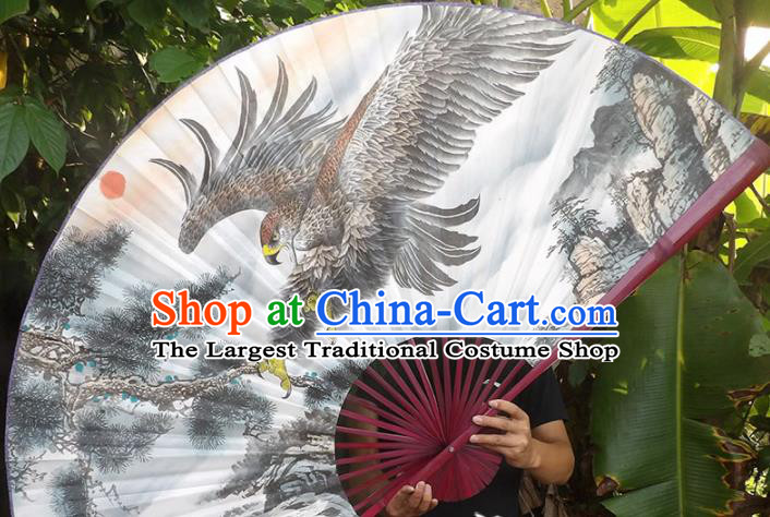Chinese Traditional Crafts Red Frame Folding Fans Ink Painting Eagle Paper Fans