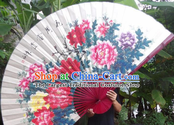 Chinese Traditional Decoration Crafts Red Wood Frame Folding Fans Ink Painting Peony Paper Fans