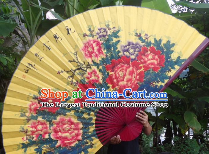 Chinese Traditional Fans Decoration Crafts Red Frame Hand Painting Peony Folding Fans Yellow Paper Fans