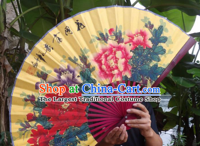 Chinese Traditional Fans Decoration Crafts Ink Painting Wealth Peony Folding Fans Yellow Paper Fans