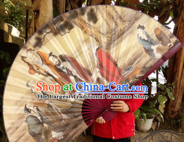 Chinese Traditional Fans Decoration Crafts Painting Wise Men Red Frame Folding Fans Paper Fans