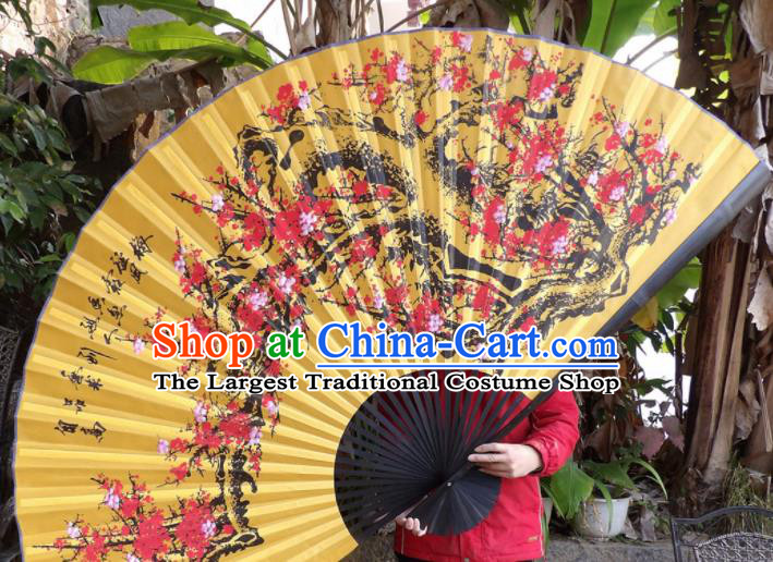 Chinese Traditional Fans Decoration Crafts Painting Plum Blossom Black Frame Folding Fans Yellow Silk Fans