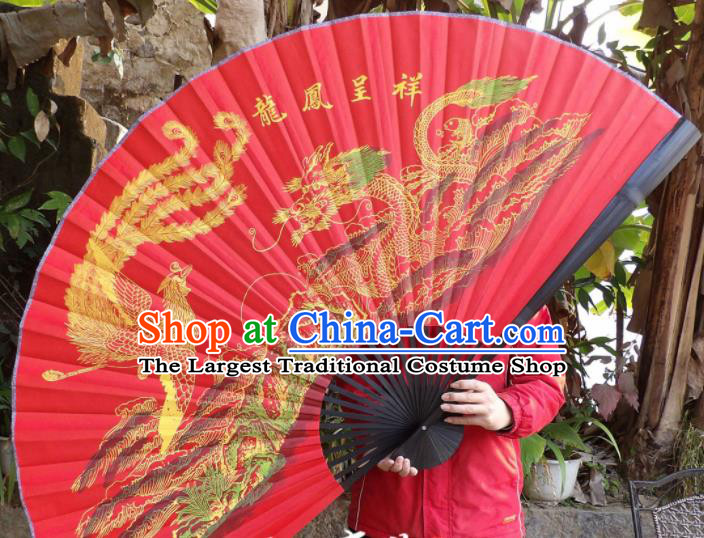 Chinese Traditional Fans Decoration Crafts Painting Dragon Phoenix Black Frame Folding Fans Red Silk Fans