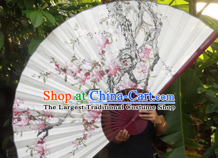 Chinese Traditional Fans Decoration Crafts Red Frame Painting Peach Blossom Folding Fans Paper Fans