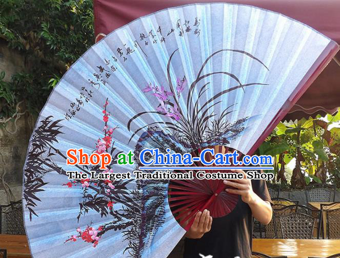 Chinese Traditional Handmade Silk Fans Decoration Crafts Ink Painting Plum Blossom Orchid Bamboo Folding Fans