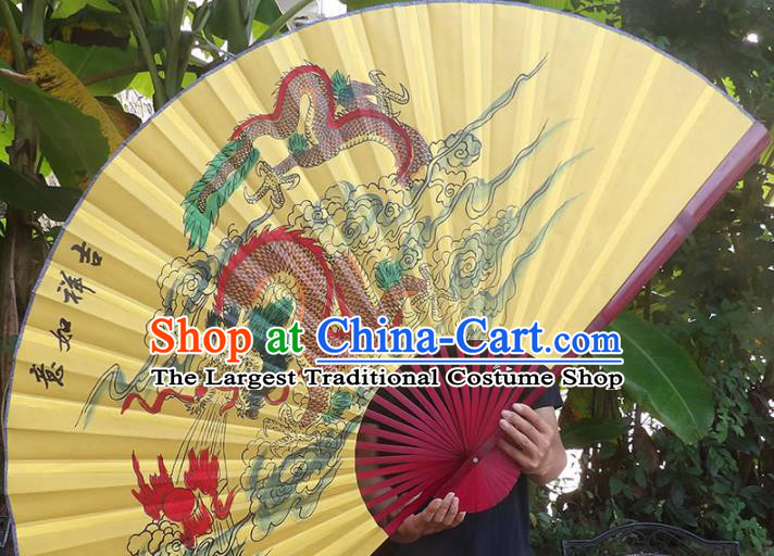 Chinese Traditional Handmade Yellow Silk Fans Decoration Crafts Ink Painting Dragon Red Frame Folding Fans