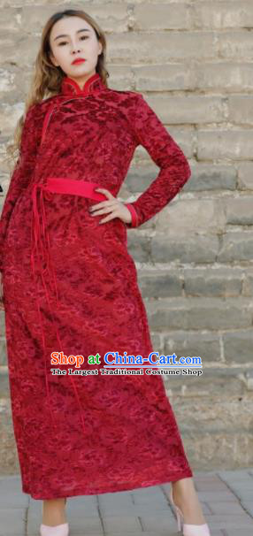 Chinese Traditional Mongol Ethnic Costume Mongolian Minority Nationality Red Dress for Women
