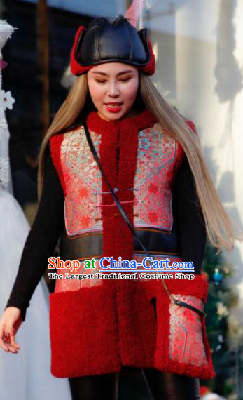 Chinese Traditional Mongol Ethnic Costume Mongolian Minority Nationality Red Vest for Women