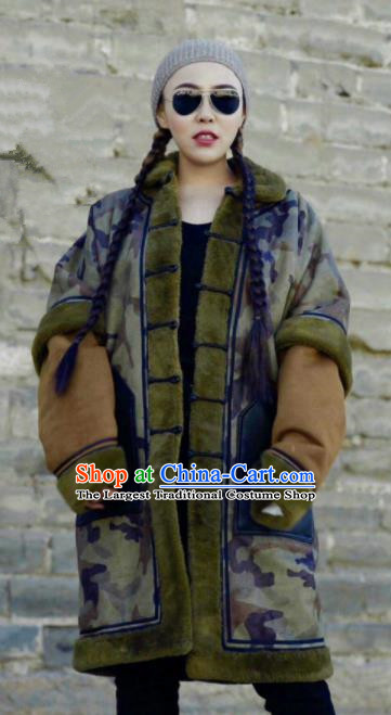 Chinese Traditional Mongol Ethnic Costume Mongolian Minority Nationality Camouflage Coat for Women