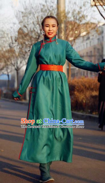 Chinese Traditional Mongol Ethnic Female Costume Mongolian Minority Nationality Green Robe for Women
