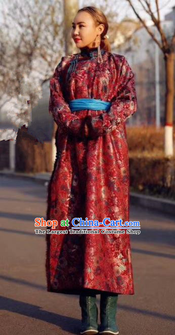 Chinese Traditional Mongol Ethnic Female Costume Mongolian Minority Nationality Red Robe for Women