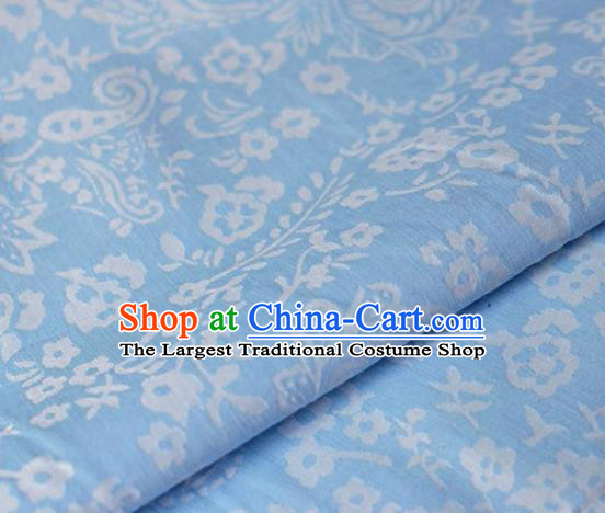 Asian Chinese Fabric Traditional Pattern Design Blue Brocade Fabric Chinese Costume Silk Fabric Material