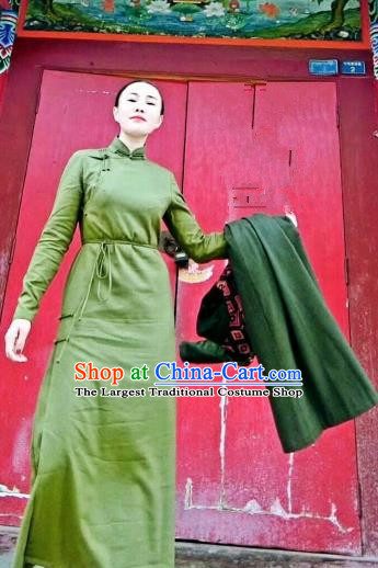 Chinese Traditional Mongol Minority Ethnic Costume Mongolian Green Dress for Women