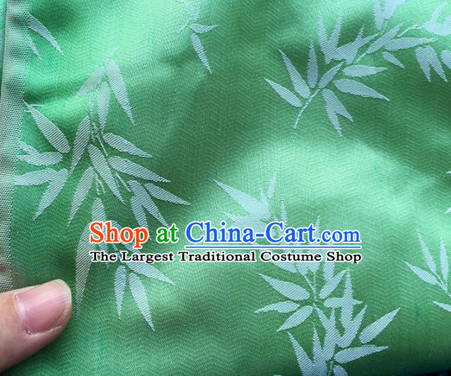 Asian Chinese Fabric Traditional Bamboo Pattern Design Green Linen Brocade Fabric Chinese Costume Silk Fabric Material