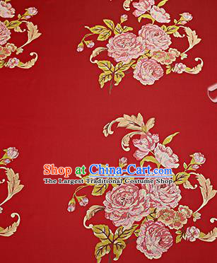 Chinese Traditional Red Brocade Fabric Asian Peony Pattern Design Satin Cushion Silk Fabric Material