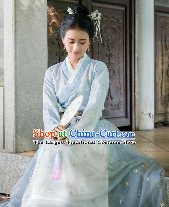 Traditional Chinese Ancient Las Meninas Hanfu Dress Song Dynasty Princess Embroidered Historical Costumes for Women